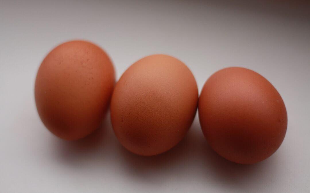 Tre stycken ägg